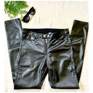 DIVIDED H&M black faux leather pants